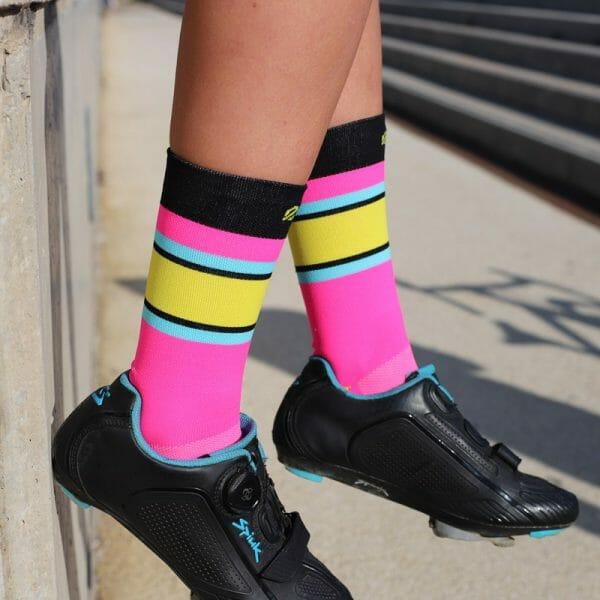 calcetines ciclismo altos fluor